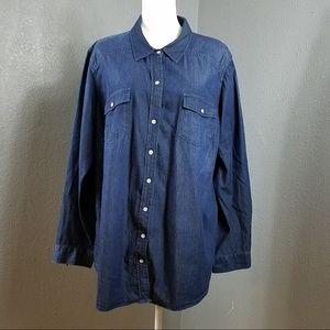 Torrid Button Front Shirt Denim Jean 3 3X Blue